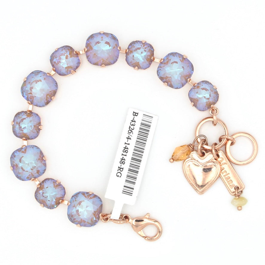 Twilight Sunkissed Multi Sized Lovable Square Crystal Bracelet in Rose Gold