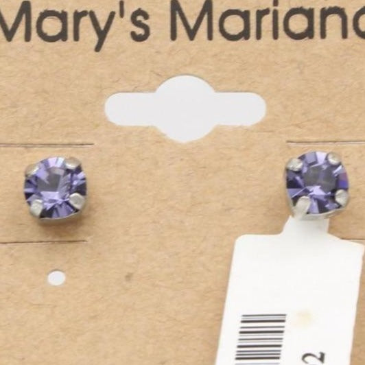 Tanzanite 5MM Round Crystal Earrings *POSTS*