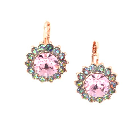 Audrey Colleciton Large Crystal Flower Earrings in Rose Gold