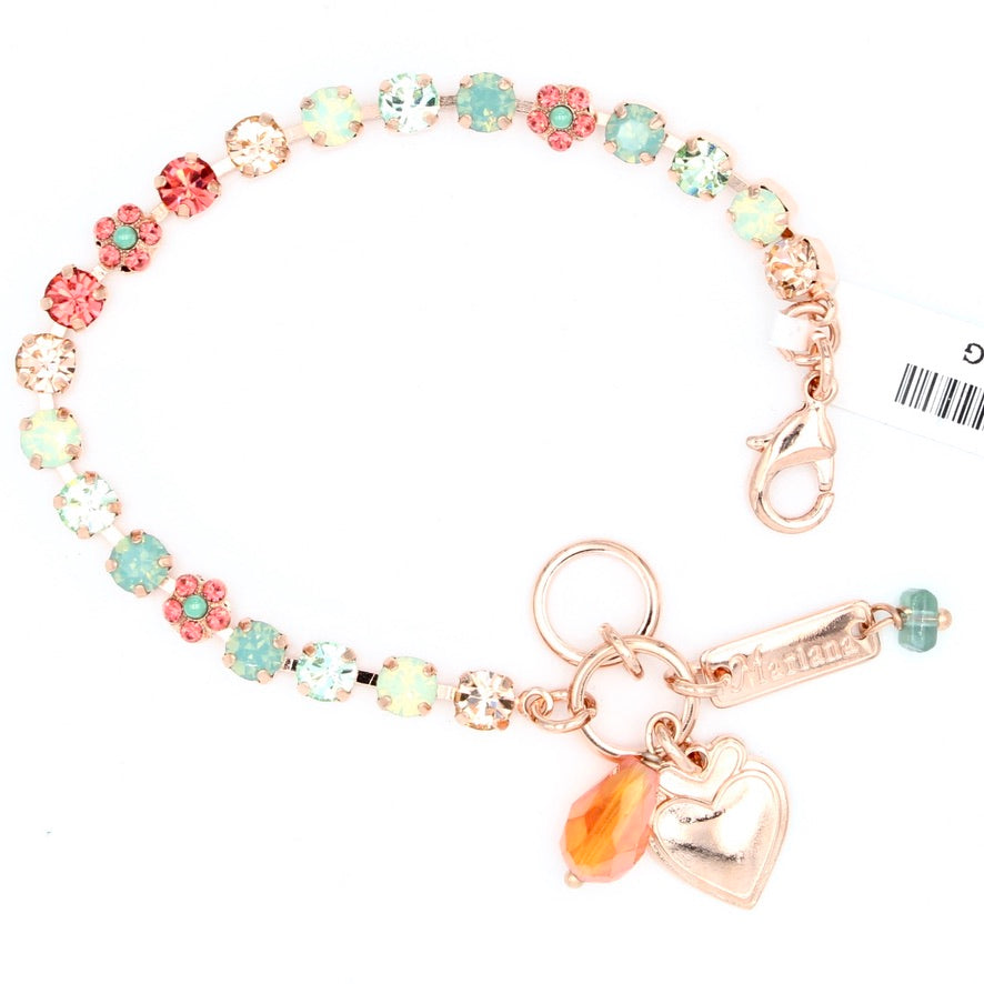 Peachy Keen Collection Petite Crystal Flower Bracelet in Rose Gold