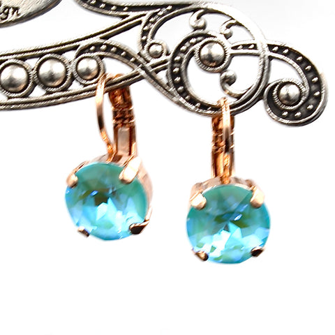 Aqua Sunkissed 10MM Crystal Earrings in Rose Gold