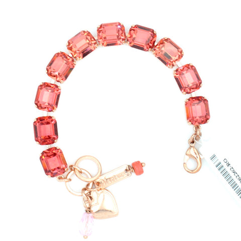 Rose Peach Rectangular Crystal Bracelet in Rose Gold