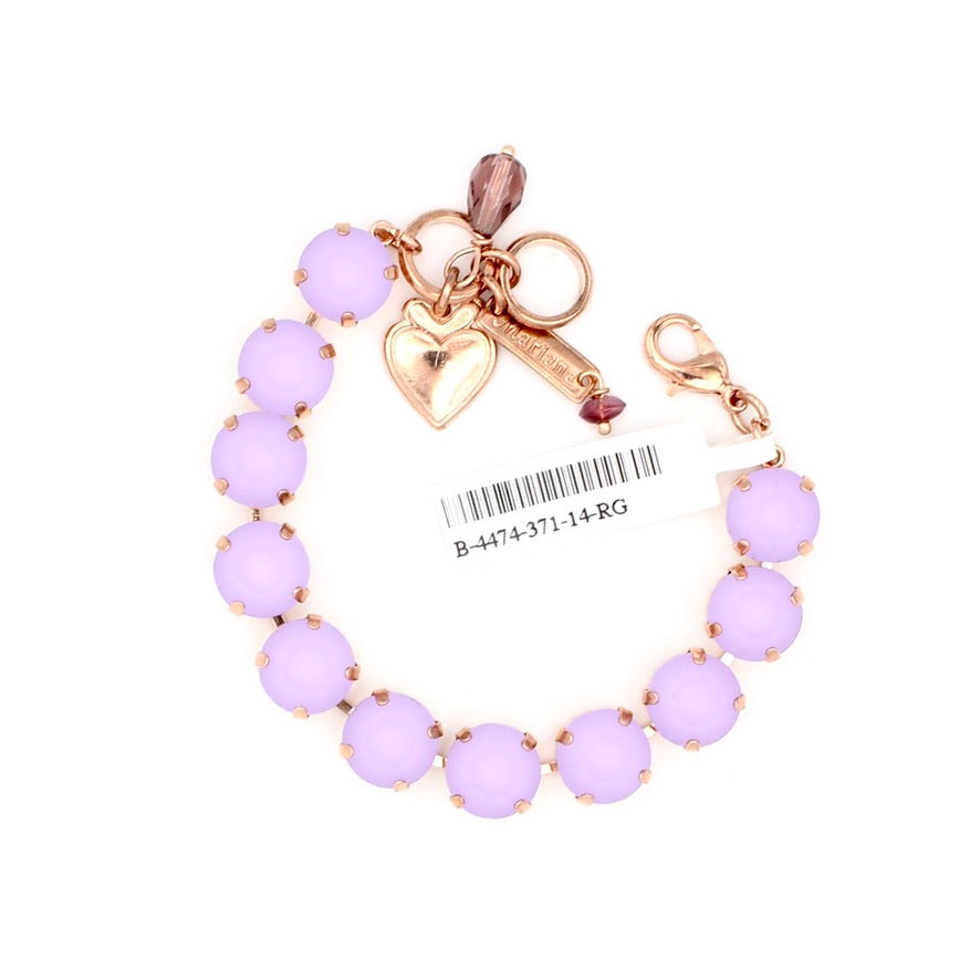Matte Violet Lovable Crystal Bracelet in Rose Gold