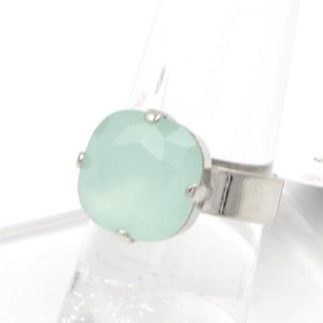 Seafoam 12MM Square Crystal Ring