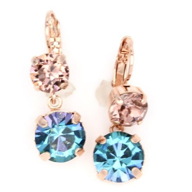 Penelope Collection Lovable Crystal Dangle Earrings in Rose Gold