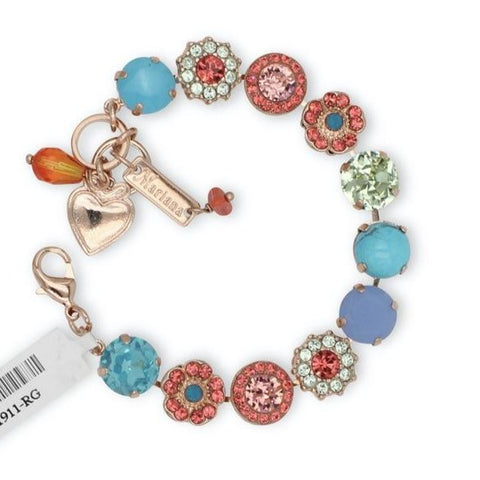 Bird of Paradise Collection Large Crystal Bracelet in Rose Gold