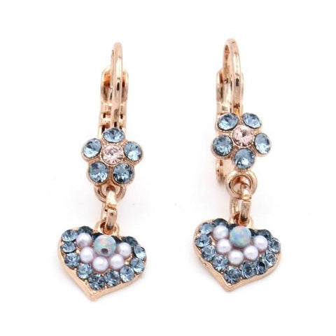 Blue Morpho Collection Tiny Flower and Heart Crystal Earrings in Rose Gold
