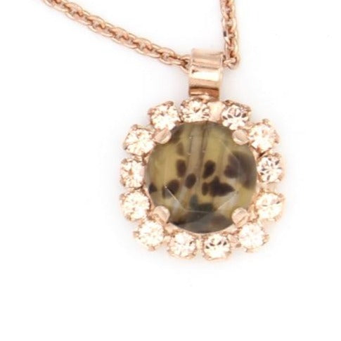 Meadow Brown Collection Round Pendant with Leopard Crystal Rose Gold