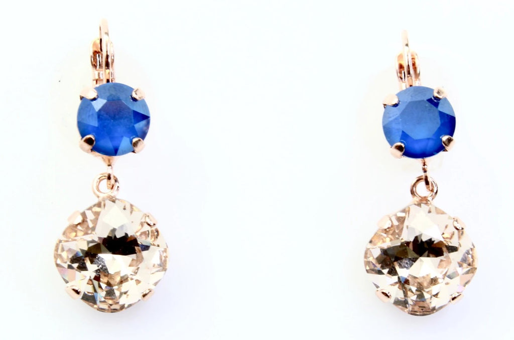 Ocean Collection 12MM Square Double Crystal Earrings in Rose Gold