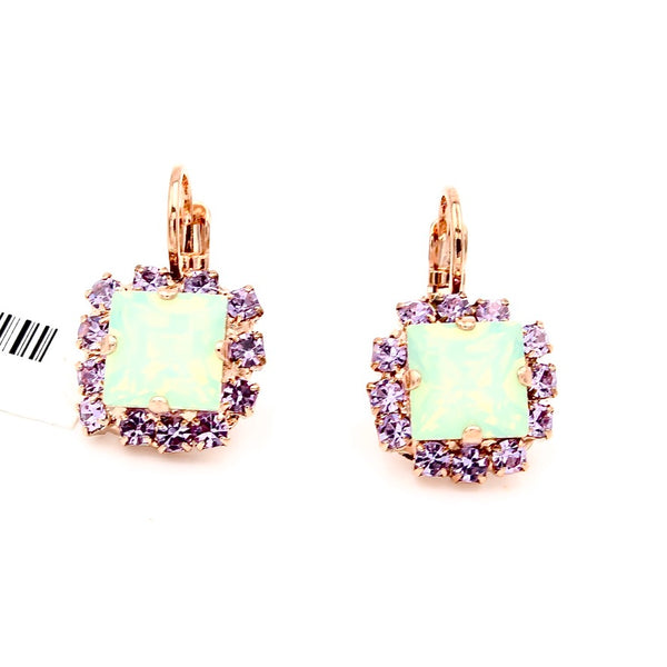 Purple Emperor Collection Square Earrings in Rose Gold