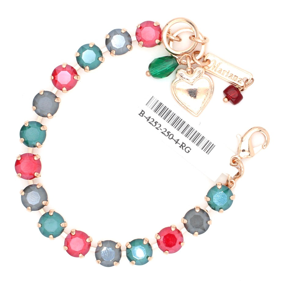 Remarkable Red, Royal Green and Gray Must Have Crystal Bracelet in Rose Gold