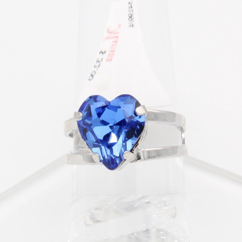 Sapphire Heart 10MM Adjustable Crystal Ring