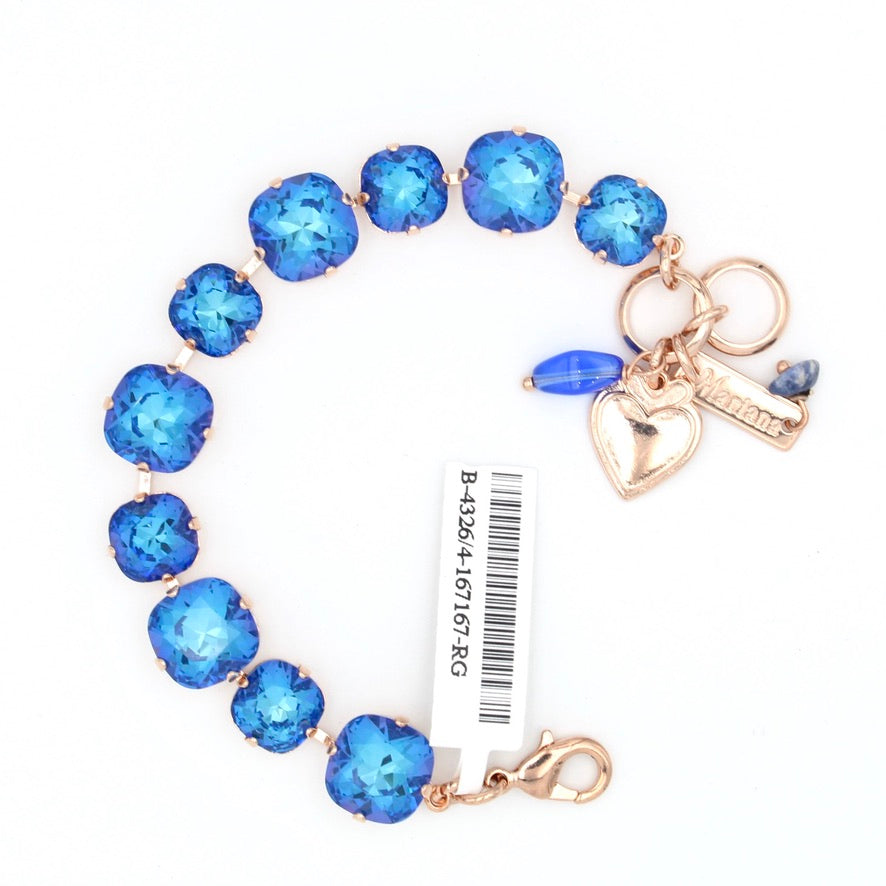 Capri Sunkissed Mixed Size Square Crystal Bracelet in Rose Gold