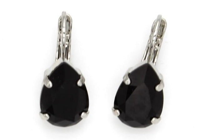 Jet Pear Shaped Earrings