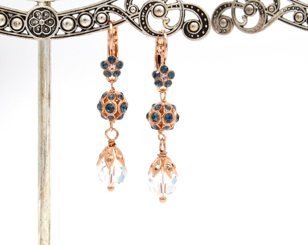 Ocean Collection  Crystal Earrings in Rose Gold