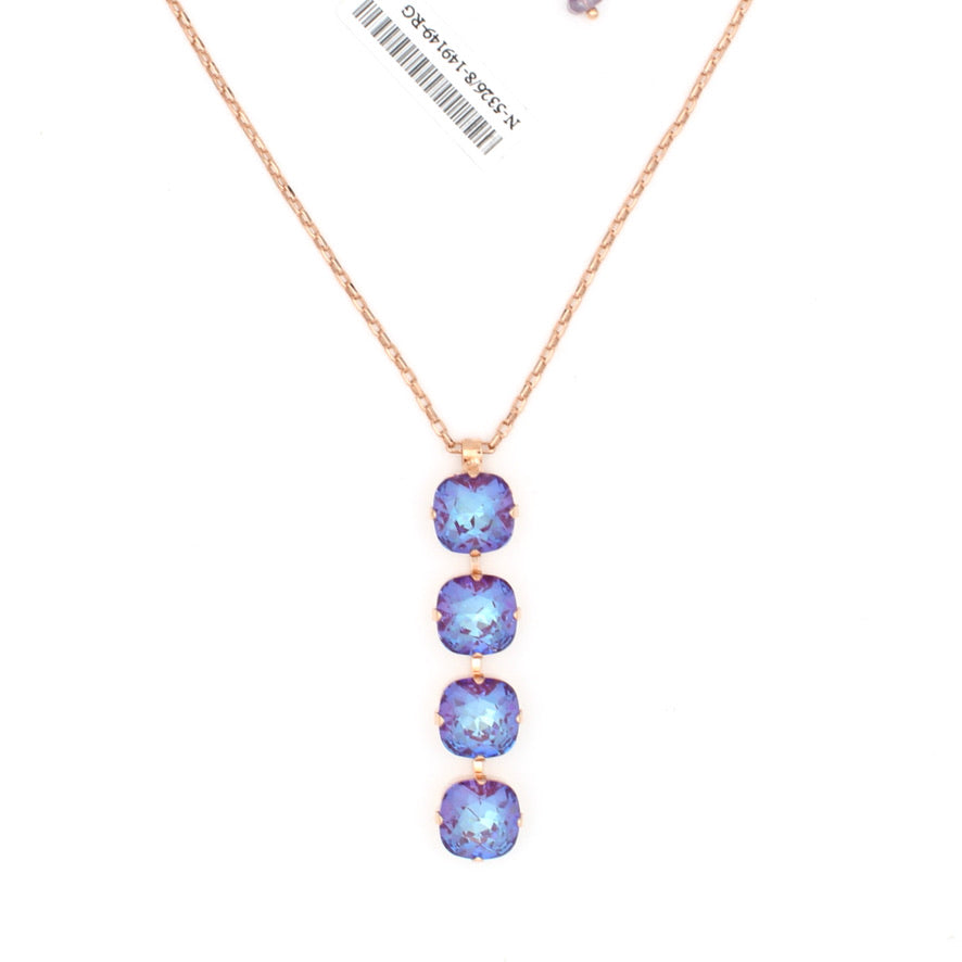 Plum Sunkissed Four Stone 12MM Pendant Necklace in Rose Gold