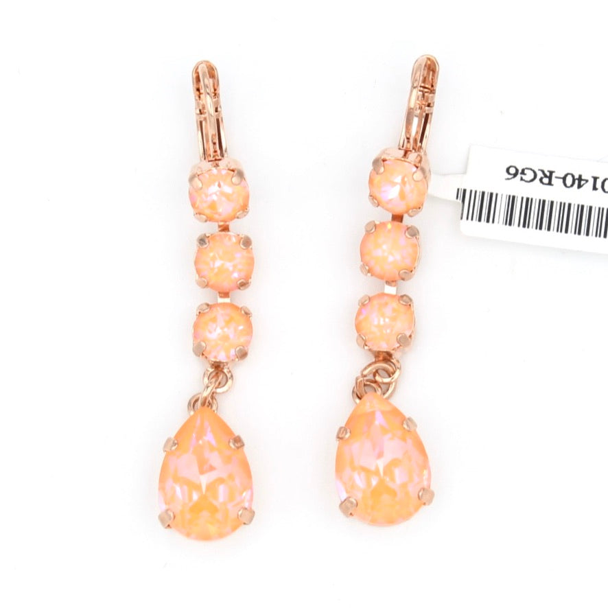 Peach Sunkissed Pear Crystal Dangle Earrings in Rose Gold
