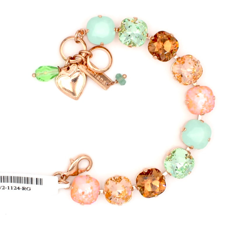 Monarch Collection 12MM Square Crystal Bracelet in Rose Gold