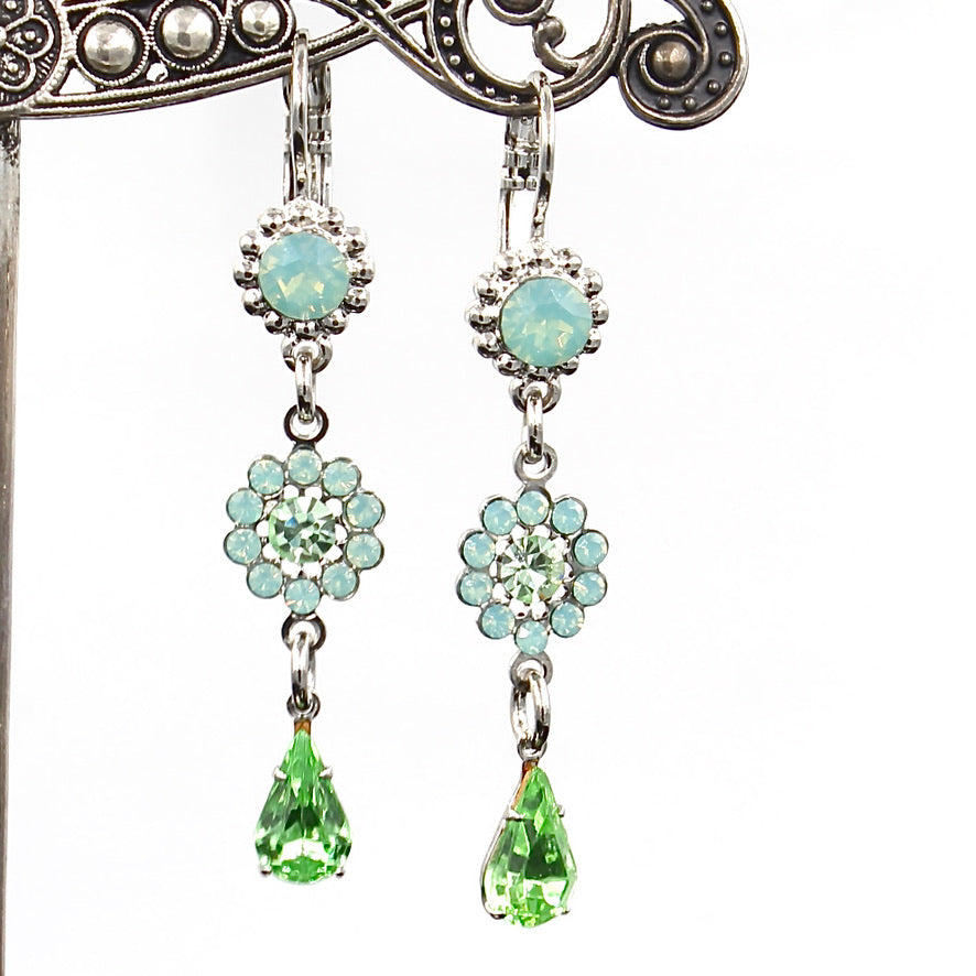 Green Ice Collection Flower Drop Earrings