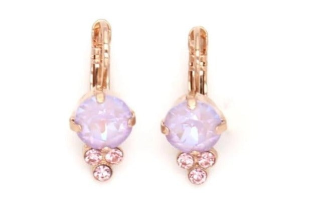 Lavender Collection Earrings with Triple Crystal Accent in Rose Gold