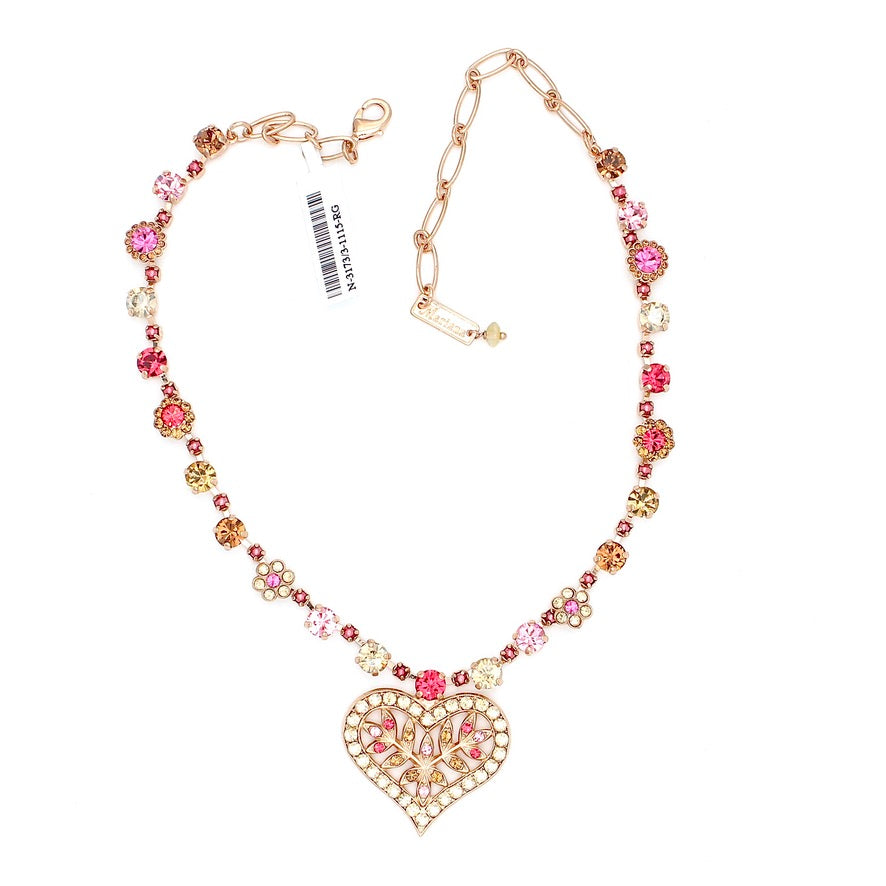 Gingerbread Collection Crystal Heart Necklace in Rose Gold