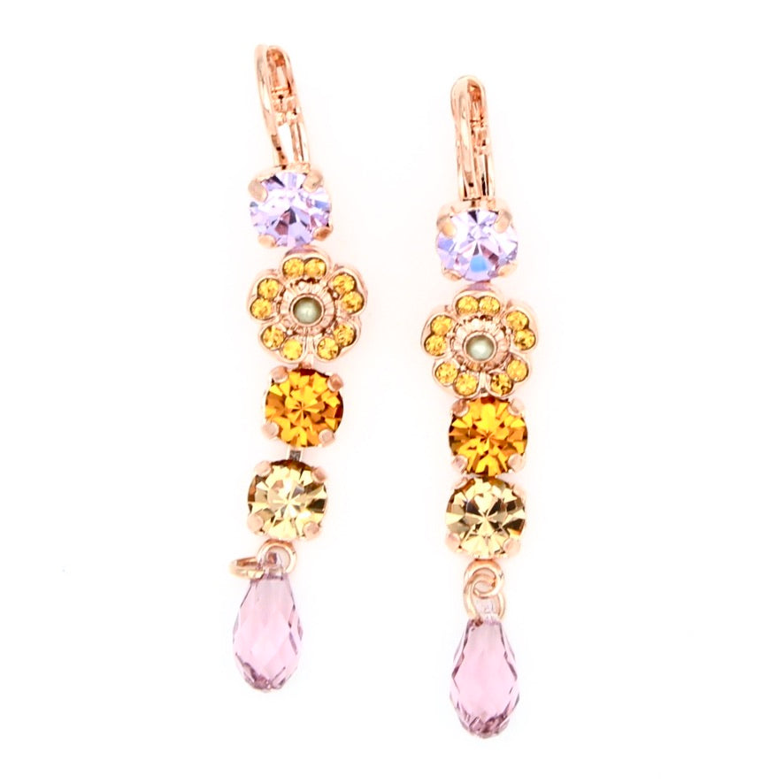 Audrey Collection Flower Dangle Earrings in Rose Gold