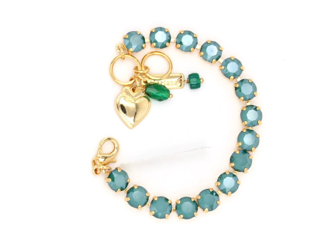Royal Green Medium Crystal Bracelet in Gold