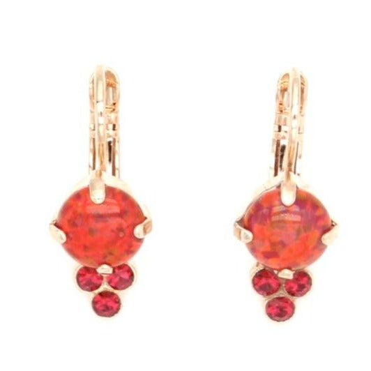 Firefly Collection Fire Opal Earrings with Triple Crystal Accent in Rose Gold
