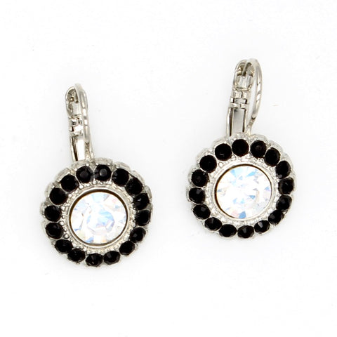 Black Orchid Collection  Round Crystal Earrings