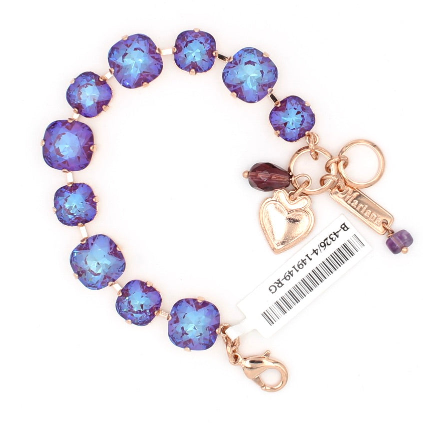 Plum Sunkissed Mixed Size Square Crystal Bracelet in Rose Gold