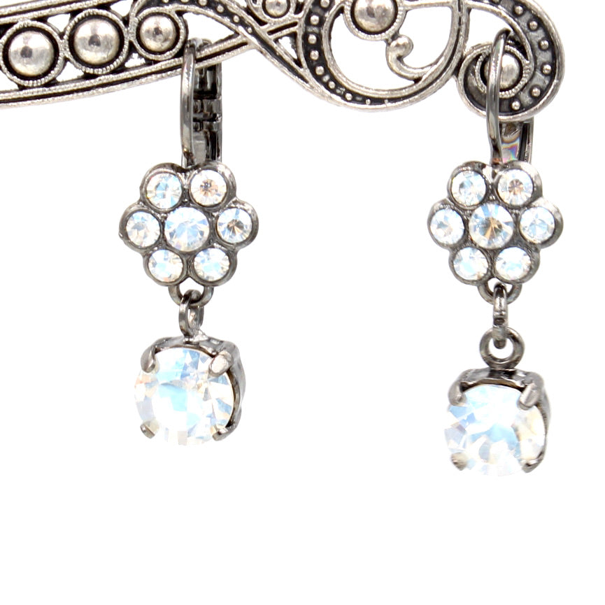 Crystal Moonlight Small Flower Earrings with Crystal Drop in Gray
