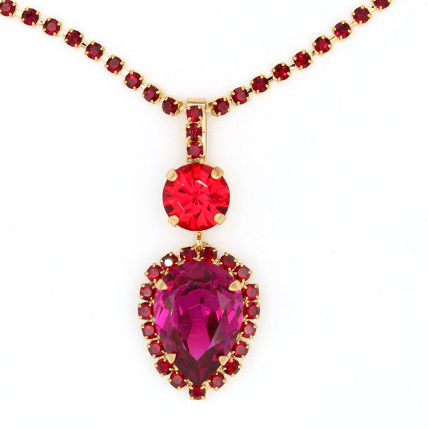 Lady in Red Collection Pear Pendant Necklace in Yellow Gold