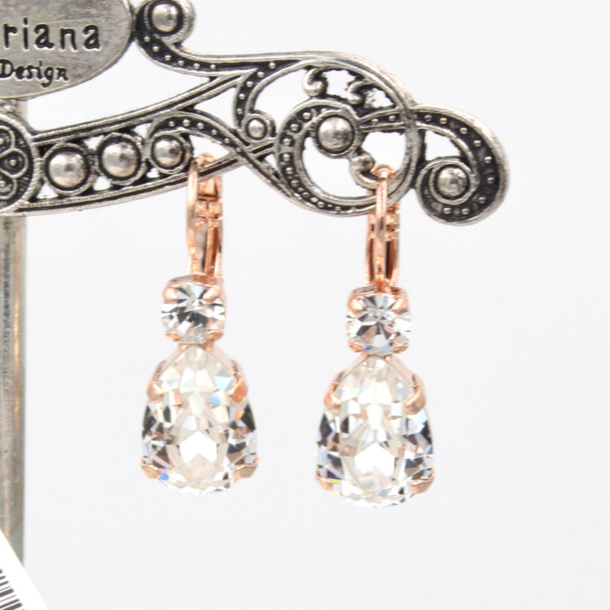 Clear Pear Shaped Earrings w/ Clear Accent Crystal in Rose Gold