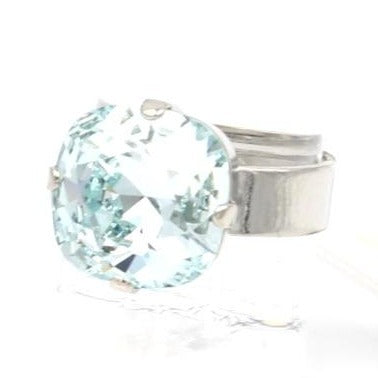 Light Azure 12MM Square Crystal Ring