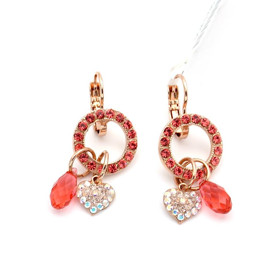 Lovers Coral Heart Charm Crystal Earrings in Rose Gold