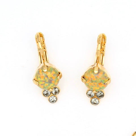 Painted Lady Collection Fire Opal Earrings with Triple Crystal Accent in Yellow Gold