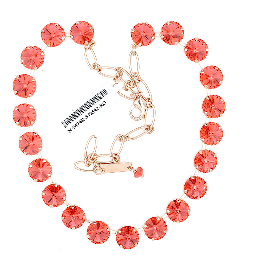 Padparadscha Rivoli Lovable Crystal Necklace in Rose Gold