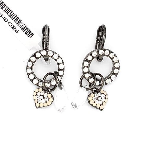 Bermuda Collection Heart Charm Crystal Earrings in Gray