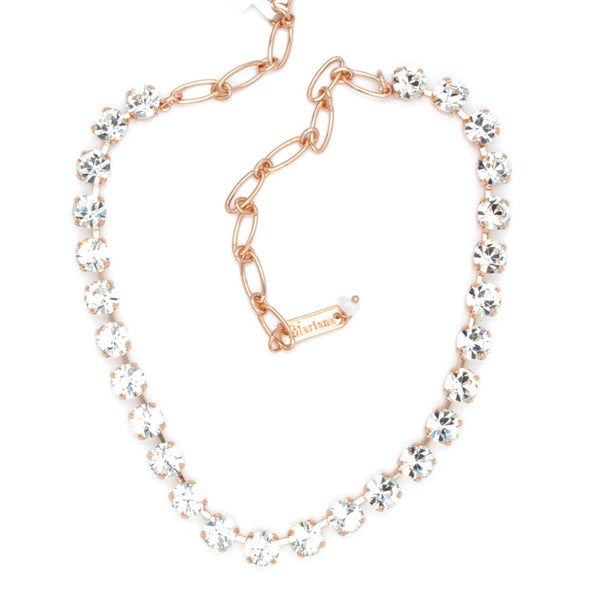 Clear Sparkly Must Have Crystal Necklace in Rose Gold