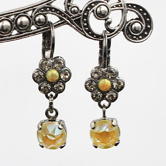 Painted Lady Collection Petite Flower Earrings with Crystal Drop in Black
