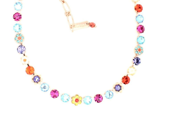 Poppy Collection 7MM Crystal Flower Necklace in Rose Gold
