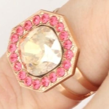 Gingerbread Octagonal Crystal Ring in Rose Gold