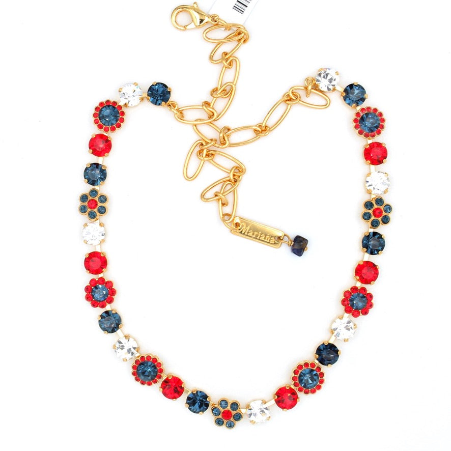 Patriot Collection Must Have Crystal Flower Necklace in Yellow Gold