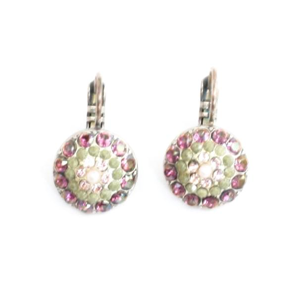 Elizabeth Collection Green and Pink Multi Crystal Earrings
