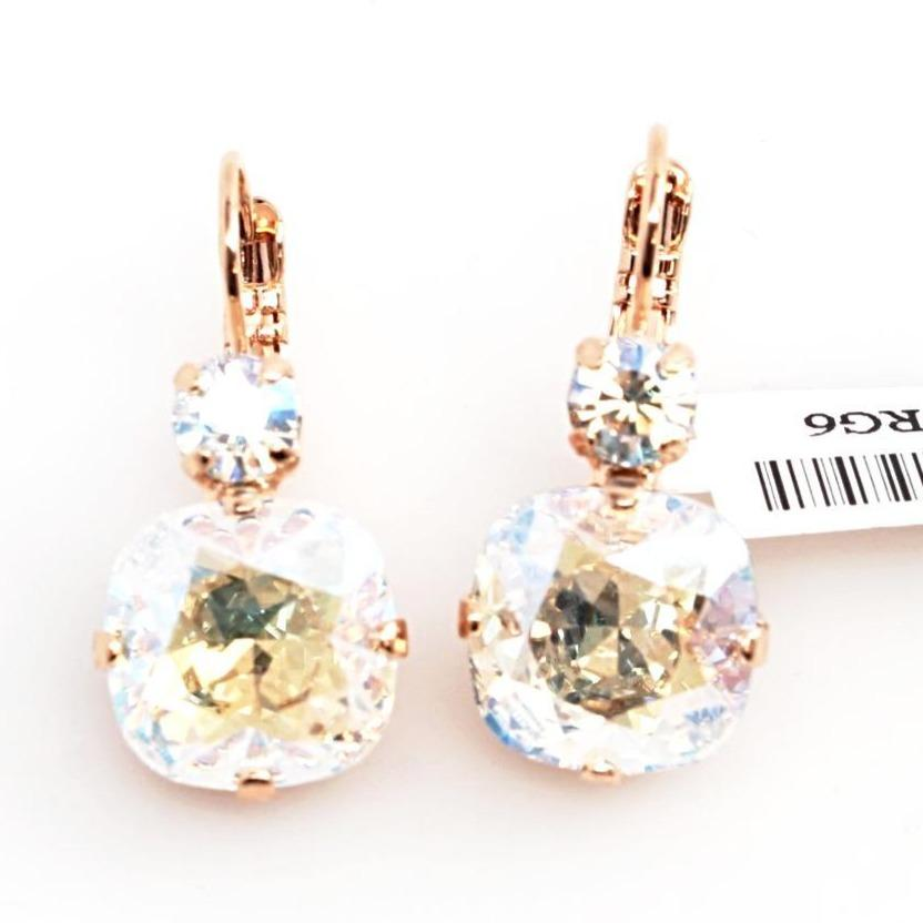Crystal Moonlight 12MM Square Double Crystal Earrings in Rose Gold