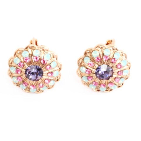 Flower Power Ornate Round Crystal Earrings in Rose Gold