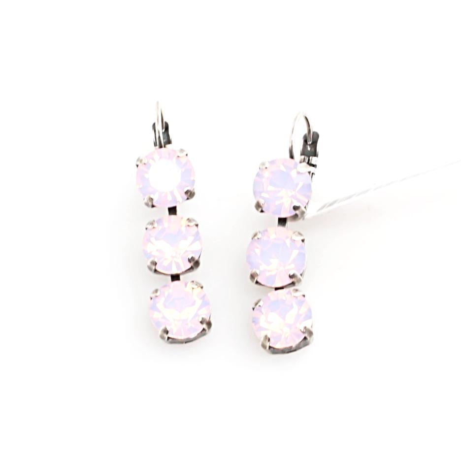 Rosewater Opal Triple Crystal Earrings
