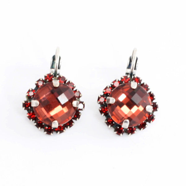 Lady in Red Square Cushion Cut Crystal Earrings