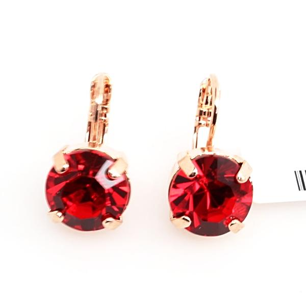 Light Siam (red) 11MM Crystal Earrings in Rose Gold