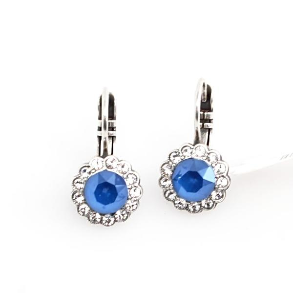 Ocean Collection Small Round Crystal Flower Earrings